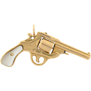 Late Victorian 14kt Mother of Pearl Pistol Hand Gun Pendant