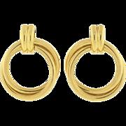 Estate 14kt Yellow Gold Double Hoop Earrings