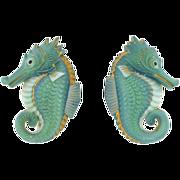 TOSHIKANE Vintage Silver & Porcelain Seahorse Earrings