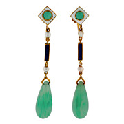 SOLD Art Deco 14kt Enamel Seed Pearl & Jadeite Earrings