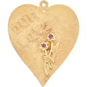 "Vintage 14kt Ruby ""Our Love Keeps Growing"" Heart Charm/Pendant"