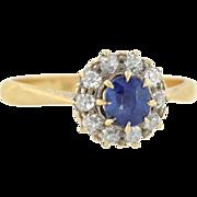 Edwardian 18kt Sapphire & Diamond Ring 0.30ct