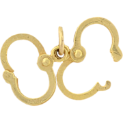 Vintage 14kt Gold Moveable Handcuffs Charm