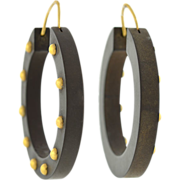Victorian 14kt Gutta Percha Hoop Earrings