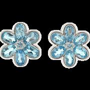 LeGi Estate 14t Blue Topaz Flower Earrings
