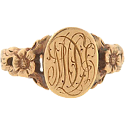 Victorian 14kt Floral Repousse Signet Ring