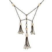 Edwardian Sterling & Mississippi River Pearl Tassel Necklace