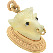 Victorian 14kt & Mother of Pearl Bull's Head Fob/Pendant