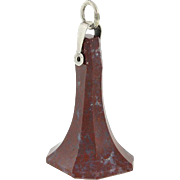 Victorian Large Sterling Carved Agate Fob