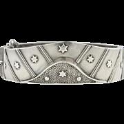 Victorian Silver Star & Stripes Motif Bangle Bracelet