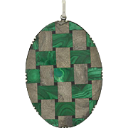 Victorian Huge Sterling & Inlaid Stone Pendant