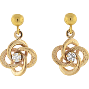 Late Victorian 14kt Gold & Diamond Love Knot Earrings