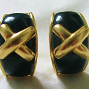 "Designer 14k Yellow Gold ""X"" Design Black Onyx Earrings"