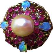 Exquisite Pearl Opal and Ruby 18K Gold Statement Cocktail Ring