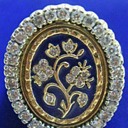 Two-Tone Gold, Diamond and Cobalt Enamel Ring
