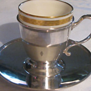 SALE Tiffany & Co.  Sterling Silver Demitasse Cups and Saucers