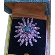 REDUCED Teal Blue Diamond Cocktail Ring