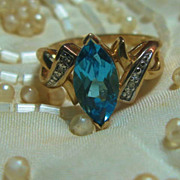 REDUCED Marquise Blue Topaz & Diamond Ring