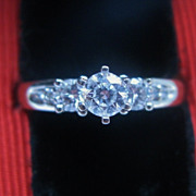 SALE European cut Diamond Trilogy Engagement Ring