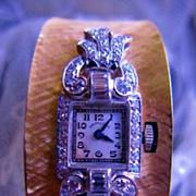 SALE Platinum Diamond & 14K Yellow Gold Bangle Bracelet Watch