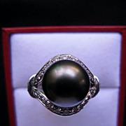 SALE Platinum Black Tahitian Pearl Diamond Ring by Kabana