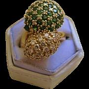 SALE Estate 18K Yellow Gold Tsavorite Diamond Ring
