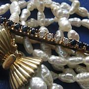 SALE Multi Strand Baroque Pearl Diamond Sapphire Bracelet