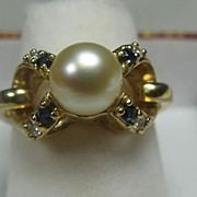 SALE Pearl Diamond Sapphire Cocktail Ring