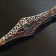 SOLD Emerald 14K White Gold Filigree Bar Pin