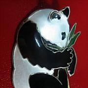 Sterling Silver Enamel Panda Bear Pin