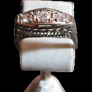 SALE Three Stone Vintage Diamond Engagement Ring