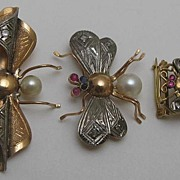 SOLD Set of 14K Rose Gold Winged Insect Brooches