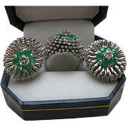 SALE Diamond Emerald 18K White Gold Earrings (clip-on) and Ring Set