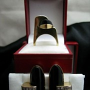 REDUCED 18k Gold Diamond Onyx ART DECO Ring and (clip) Earring Set