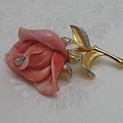 Hattie Carnegie Coral Rose Brooch
