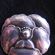 SOLD Vintage Georg Jensen Sterling Silver Pansy Flower Pin Brooch