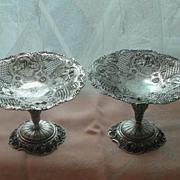 "(2) Victorian Sterling Silver ""CHERUB"" Compotes"