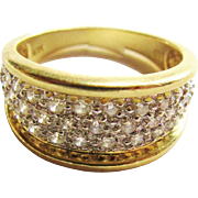 SALE Wide 14k Gold Diamond Band Ring