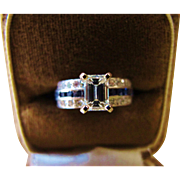 SALE Platinum Emerald cut Diamond & Sapphire  Engagement  Ring
