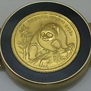 SALE 14K Gold Onyx Bracelet with Panda Coin