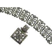 Sterling Silver Flower Marcasite Bracelet & Necklace Set