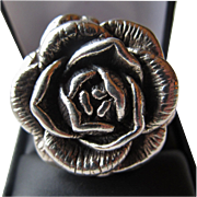 SALE Stunning Sterling Silver Large Rose Ring