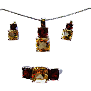 SALE Garnet & Citrine Necklace Earrings and Ring Set