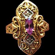 SALE Marquise Amethyst Filigree Ring