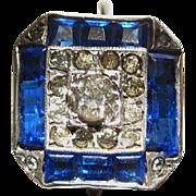 Cobalt Blue Paste Art Deco Ring  UNCAS  Mfg. Co