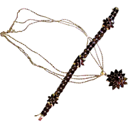 Stunning GARNET Necklace and Bracelet Set in Sterling Silver