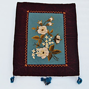 Victorian Velvet edged Floral Embroidery Panel