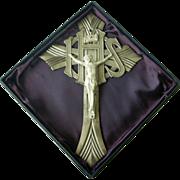 Vintage Metal Wall Crucifix, in Box