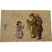 Early Father Christmas Postcard with Brown Suit, 1912