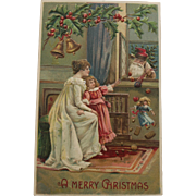 Santa delivering Gifts to Mother and Child Postcard, 1906